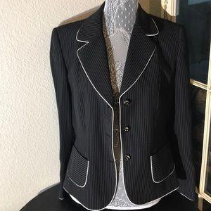 Tahari Black Blazer with white pin stripes